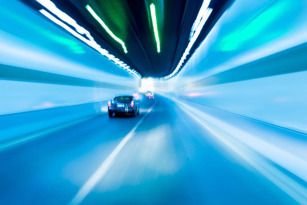 Car in tunnel blurred