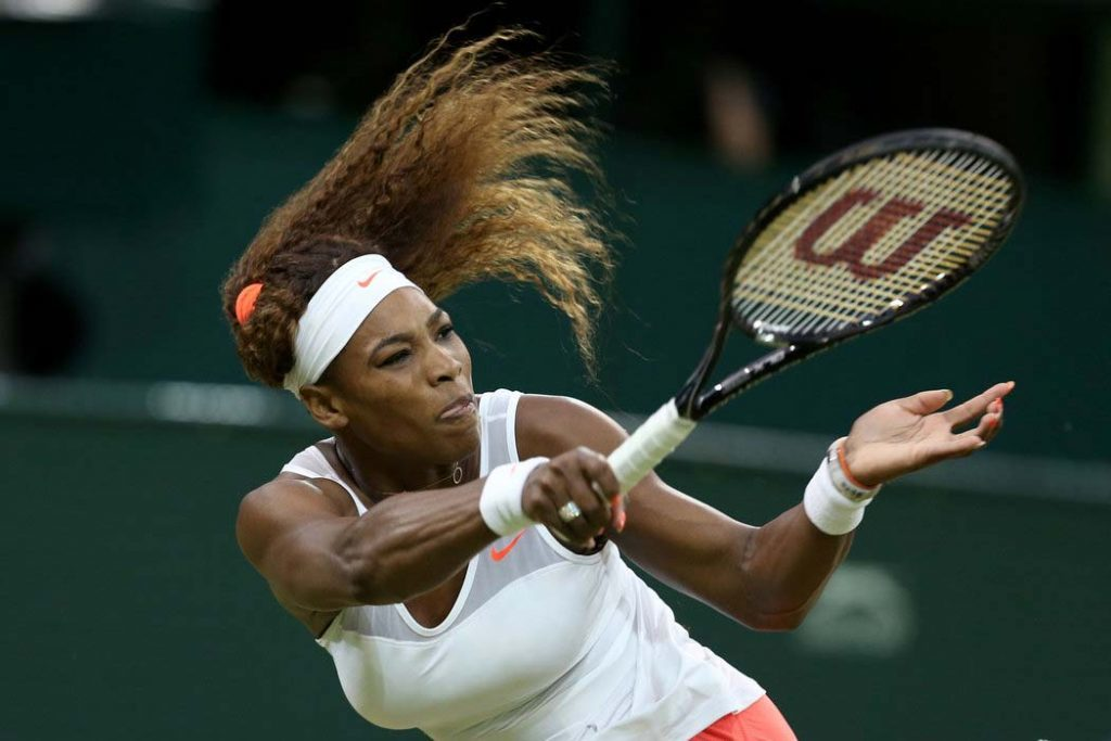 venus williams playing tennis with wilson tennis racquet