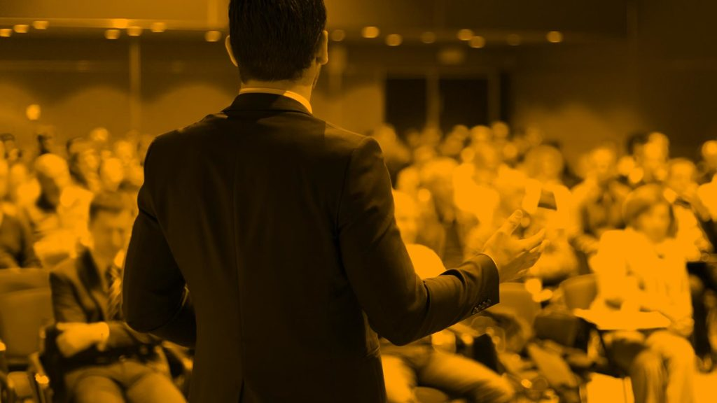 Businessman presenting to audience