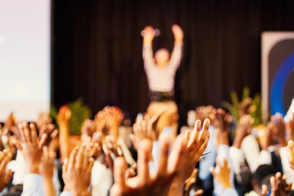 Keynote speaker and audience