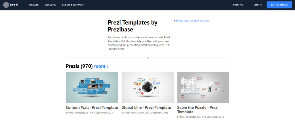 Prezi presentation software screenshot