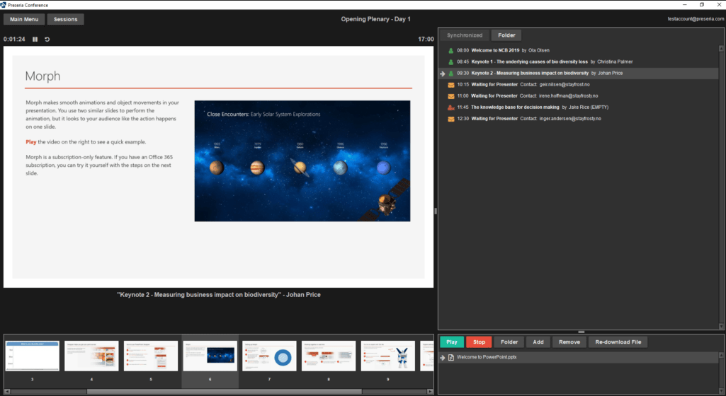 Preseria presentation software screenshot