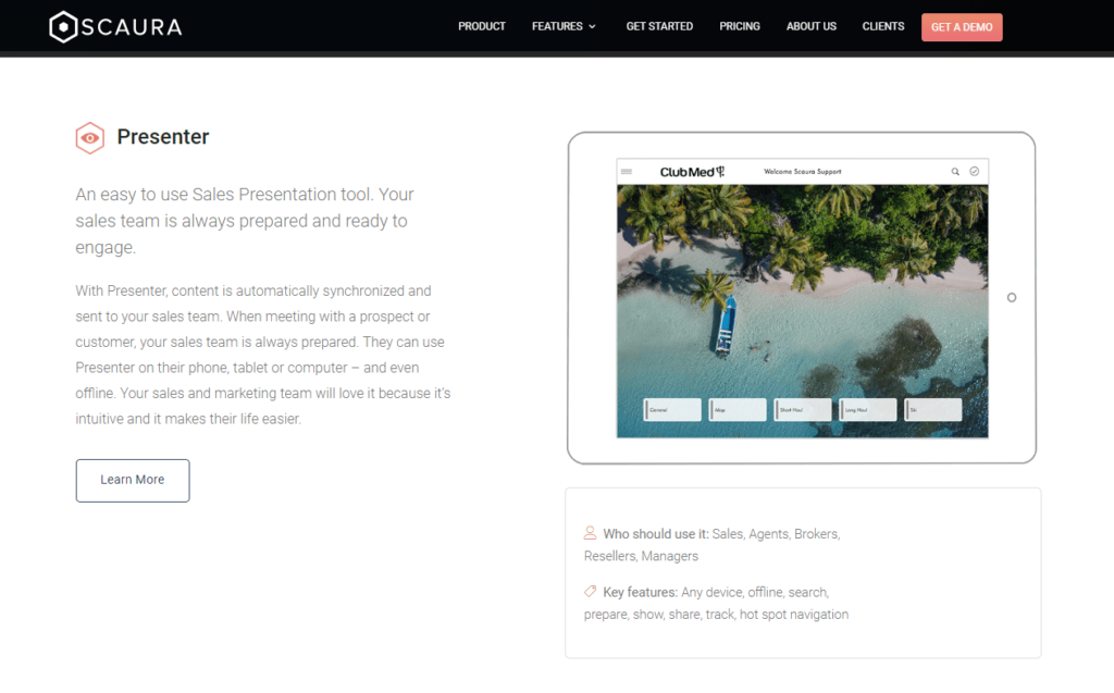 Scaura presentation software screenshot
