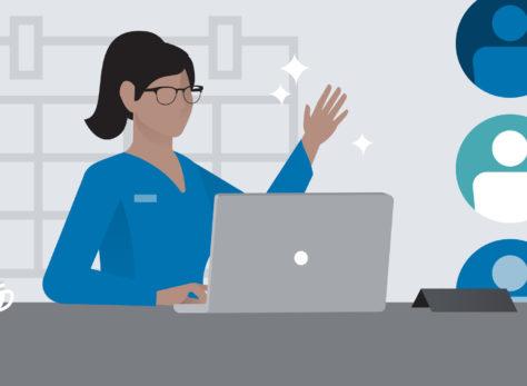 Cartoon woman on online meeting