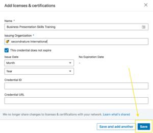 LinkedIn licenses & certifications