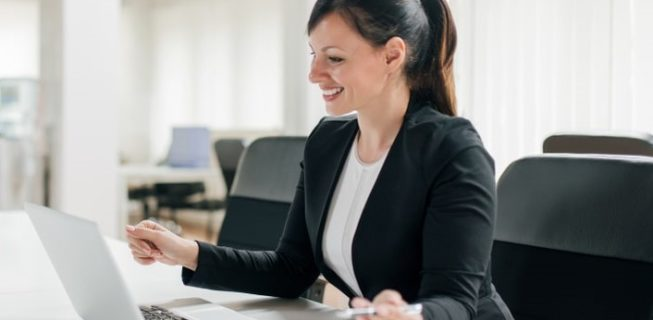 Woman attending a presentation online
