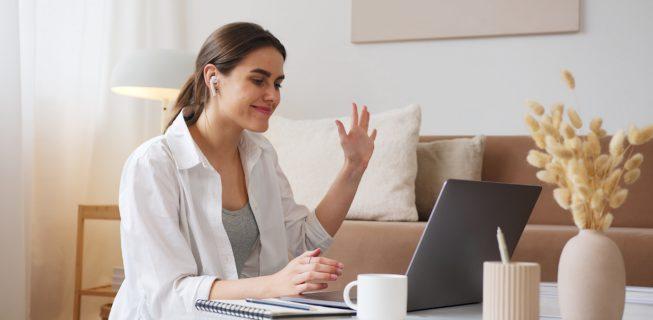 Woman presenting via webinar
