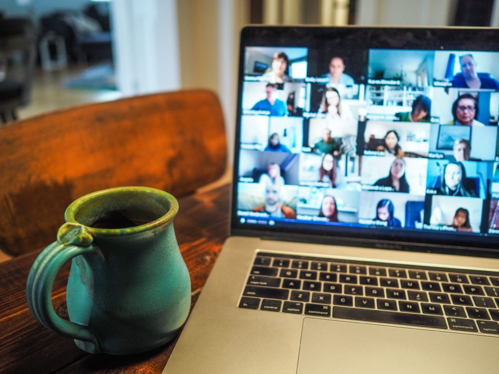Laptop showing online collaboration