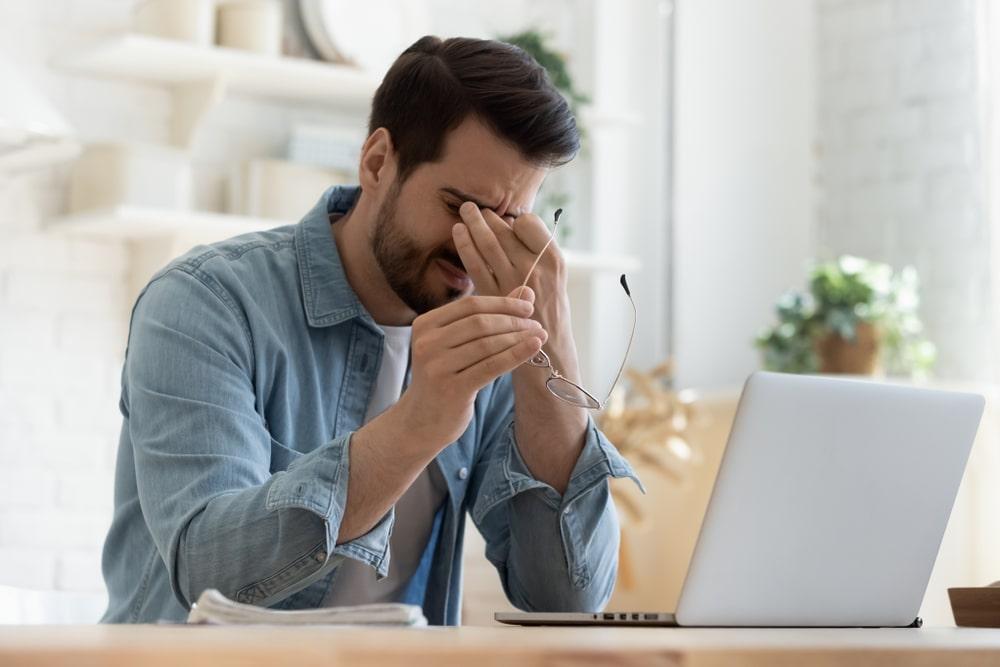 A man experiencing Zoom fatigue