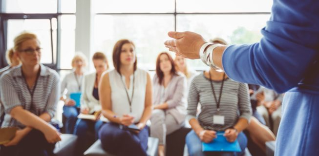 Women engaging in corporate training