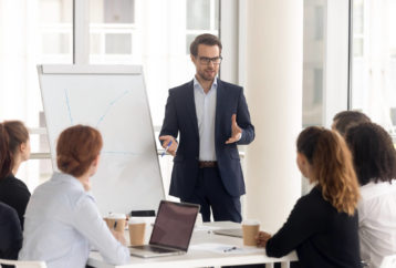 man giving an effective business presentation